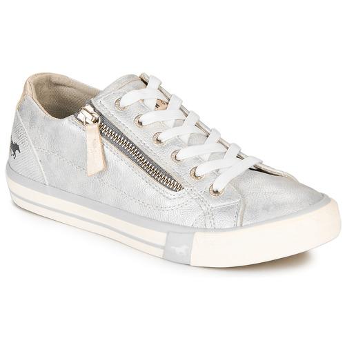 Schuhe Damen Sneaker Low Mustang JOBARIK Silbern
