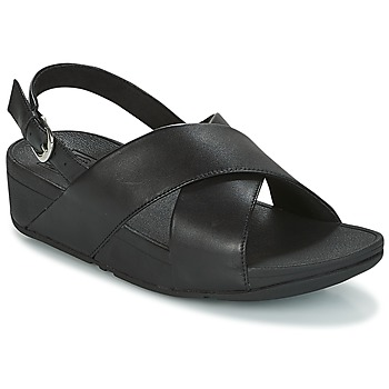 Schuhe Damen Sandalen / Sandaletten FitFlop LULU CROSS BACK-STRAP SANDALS - LEATHER Schwarz