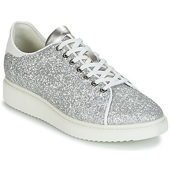 Schuhe Damen Sneaker Low Geox D THYMAR C Silbern / Weiss