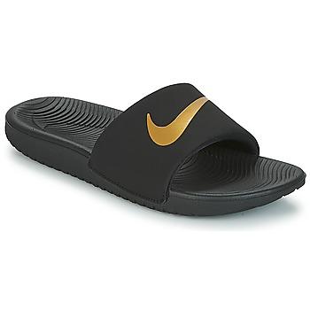 Schuhe Kinder Pantoletten Nike KAWA GROUNDSCHOOL SLIDE Schwarz / Gold
