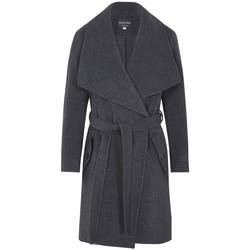 Kleidung Damen Trenchcoats De La Creme Kaschmir-Wintermantel mit großem Kragen Grey