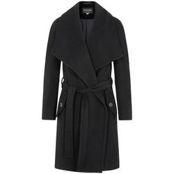 Kleidung Damen Mäntel De La Creme - Schwarze Frau Winter Lana Cashmere Wrap Manteux mit gro�er Ha Black