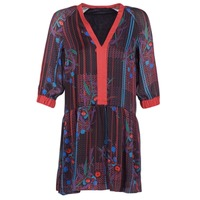 Kleidung Damen Kurze Kleider Sisley CEPAME Schwarz / Rot / Blau