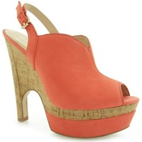 Schuhe Damen Pumps Guess Jordane Zeppa Wedge Nubuck Red
