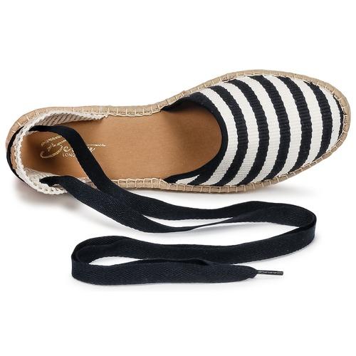 Betty London INANO Schwarz / Weiss  Schuhe Leinen-Pantoletten mit gefloch Damen 46,79