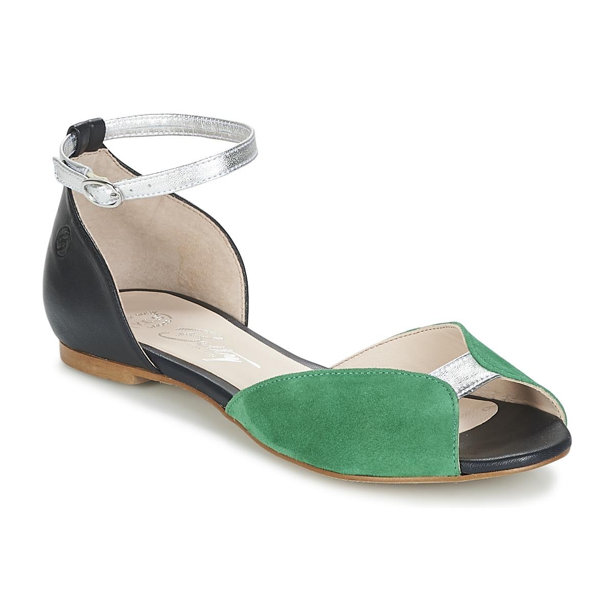 Betty London INALI Schwarz / Silbern / Grün - Kostenloser Versand bei Spartoode ! - Schuhe Sandalen / Sandaletten Damen 55,99 €