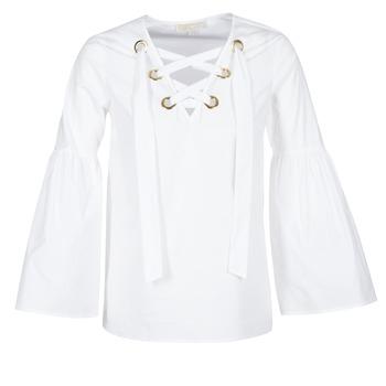 Kleidung Damen Tops / Blusen MICHAEL Michael Kors POPLIN GRMT LCE UP T. Weiss