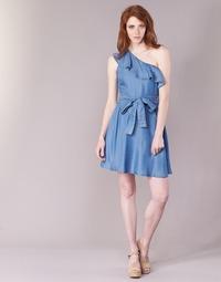 Kleidung Damen Kurze Kleider MICHAEL Michael Kors ONE SHLDR RUFFLE DRS Blau