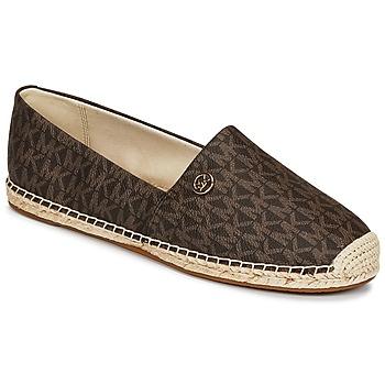 Schuhe Damen Leinen-Pantoletten mit gefloch MICHAEL Michael Kors KENDRICK SLIP ON Braun