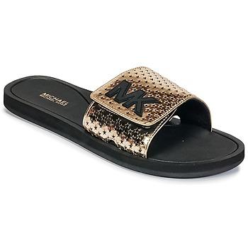 Schuhe Damen Pantoletten MICHAEL Michael Kors MK SLIDE Schwarz / Gold