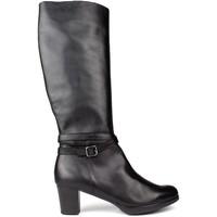 Schuhe Damen Stiefel Kroc HOHE LEDERSTIEFEL BLACK