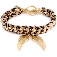 Uhren Damen Armbänder Blue Pearls Ettika - Geflochtenes, leopardenfarbiges Baumwollbänder-Armband Other