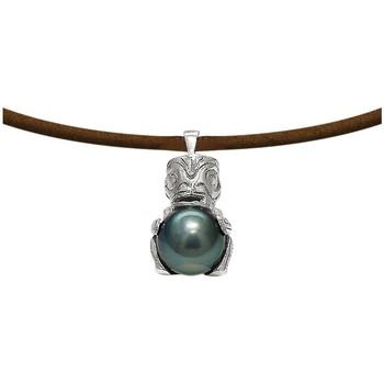 Uhren Damen Collier Blue Pearls Man Halskette Tribal Leder, Tahitiperle und 925 Sterlingsilber Multicolor