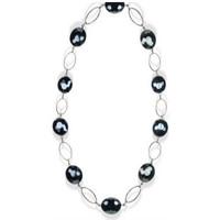 Uhren Damen Collier Blue Pearls Perlenhalskette mit schwarzen Kristallen Multicolor