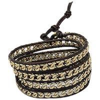 Uhren Damen Armbänder Blue Pearls Mehrrangiges, schwarzes Lederbandarmbändchen mit gelbgoldenen Me Other