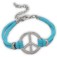 Uhren Damen Armbänder Blue Pearls Blaues Armband mit Wildlederimitat und silbernem Peace-and-Love- Other