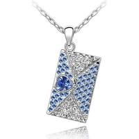 Uhren Damen Anhänger Blue Pearls Liebesbrief-Anhänger mit blauen Swarovski Elements Multicolor