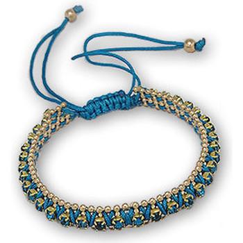 Uhren Damen Armbänder Blue Pearls Armband mit blauen Kristallen und vergoldeter Edelstahlfassung Multicolor
