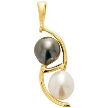 Uhren Damen Anhänger Blue Pearls Perlen-Anhänger Tahiti-Perle und Süßwasser-Zuchtperlen und Gelbg Multicolor
