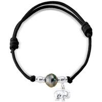 Uhren Damen Armbänder Blue Pearls Tahiti-Perlen-Armband, Elefant 925-Sterlingsilber und gewachste Multicolor