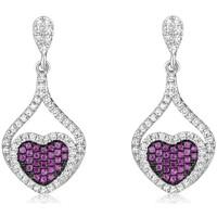 Uhren Damen Ohrringe Blue Pearls Herz-Ohrringe Silber und Weissen und Rosa Kristall Swarovski Zir Multicolor