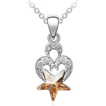 Uhren Damen Anhänger Blue Pearls Herz und Stern Swarovski Elements-Halskette Other