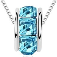 Uhren Damen Anhänger Blue Pearls Ring-Halskette mit blauen Swarovski Elements und Weißgold Multicolor