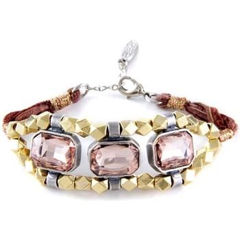 Uhren Damen Armbänder Blue Pearls Ettika - Armband Kristallrosen und Geflochtenes Baumwollbänder Multicolor