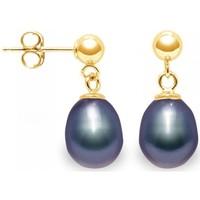 Uhren Damen Ohrringe Blue Pearls Schwarzer Subwasser PerlenOhrringe - Verschluss und Fassung Gelb Multicolor
