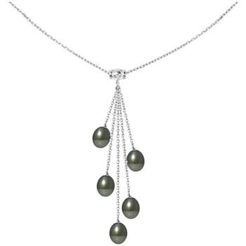 Uhren Damen Collier Blue Pearls Halskette in Sterling Silber 925 und 5 Perlen von Tahiti Multicolor