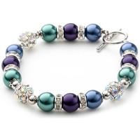 Uhren Damen Armbänder Blue Pearls 1-Rang-Armband, rhodiumüberzogen mit blauen und violetten Perlen Multicolor