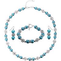 Uhren Damen Schmuck Blue Pearls Schmuckset: Halskette und Hänge-Ohrringe mit blauen Perlen und w Multicolor