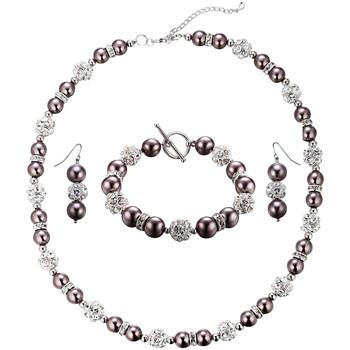 Uhren Damen Schmuck Blue Pearls Schmuckset: Halskette und Hänge-Ohrringe mit bronzefarbenen Perl Multicolor