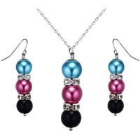 Uhren Damen Schmuck Blue Pearls Schmuckset: Halskette und Hänge-Ohrringe mit mehrfarbigenn Perle Multicolor