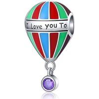 Uhren Damen Anhänger Blue Pearls Ballon-Abstandhalter für Charms-Anhänger Multicolor