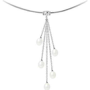 Uhren Damen Collier Blue Pearls Halskette Frauer in 925/1000 Sterling Silber und 5 Weissen Subwa Multicolor