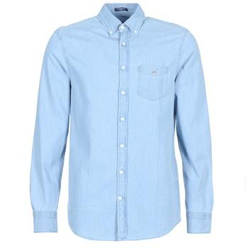 Kleidung Herren Langärmelige Hemden Gant THE INDIGO REG Blau