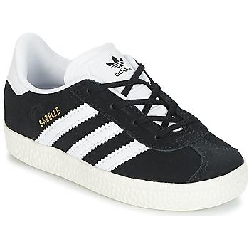 Schuhe Kinder Sneaker Low adidas Originals GAZELLE I Schwarz / Weiss