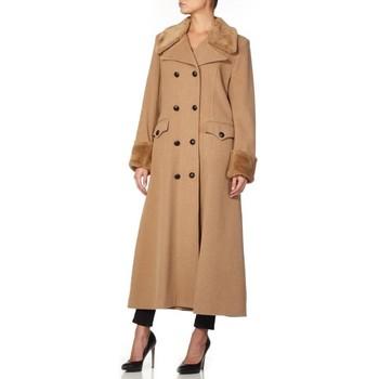 Kleidung Damen Parkas De La Creme Doppelter, langer Mantel BEIGE