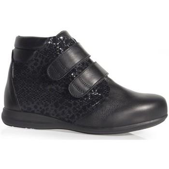 Schuhe Damen Slipper Calzamedi STIEFEL  DOPPELHAUT VELCRO BEDRUCKT W BLACK