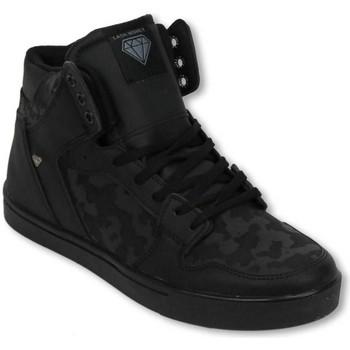 Schuhe Herren Sneaker High Cash Money Sneakers Hoch Army Voll Schwarz