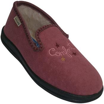 Schuhe Damen Hausschuhe Muro Wohnung geschlossene Schuhe mit Fell auf Rose