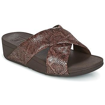 Schuhe Damen Pantoffel FitFlop SWOOP SLIDE Schokolade