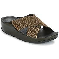 Schuhe Damen Pantoffel FitFlop CRYSTALL SLIDE Olive