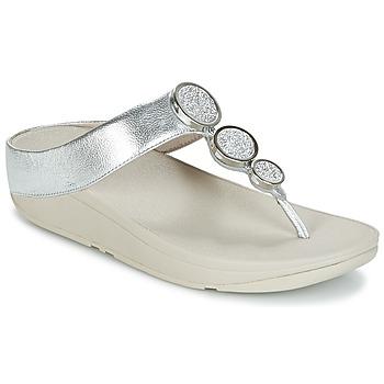 Schuhe Damen Zehensandalen FitFlop HALO TOE THONG SANDALS Silbern