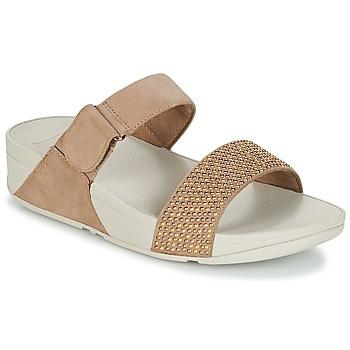 Schuhe Damen Pantoffel FitFlop LULU POPSTUD SLIDE SANDAL Beige