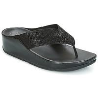 Schuhe Damen Zehensandalen FitFlop CRYSTALL Schwarz