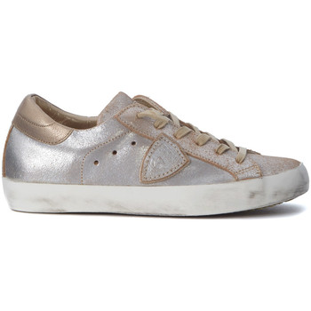 Schuhe Sneaker Low Philippe Model Paris Sneakers Paris in laminiertem Leder Zartrosa und Gold Gold