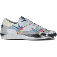 Schuhe Sneaker Low Philippe Model Paris Sneakers Paris Tropical in Leder mit Kolibri und Glitter Silber