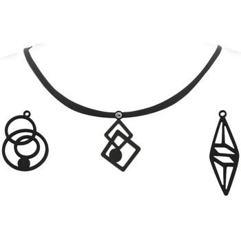 Uhren Damen Collier Blue Pearls Damen Halsketten Set - 3 Anhänger schwarze Silikon Other